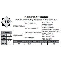 Lot 49 - RED FRAN 5036
