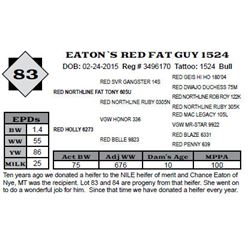 Lot 83 - EATON`S RED FAT GUY 1524