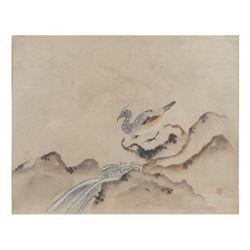 Wen Tien, Watercolor - Bird Near Stream