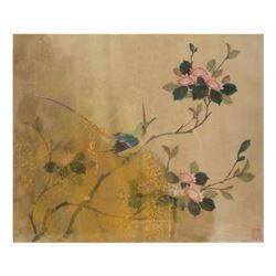 Watercolor on Silk - Bird on Branch