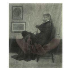 H. Wolf, Engraving - Seated Man