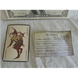 BATMAN BEGINS THE DARK KNIGHT JOKER CARD WITH EVIDENCE CARD AND SEAL