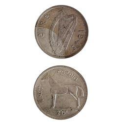 Ireland 1943 Half Crown Silver Coin