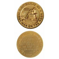 U.S. 1969 Apollo XI Gold-Filled Medal