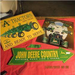 3 John Deere tin signs
