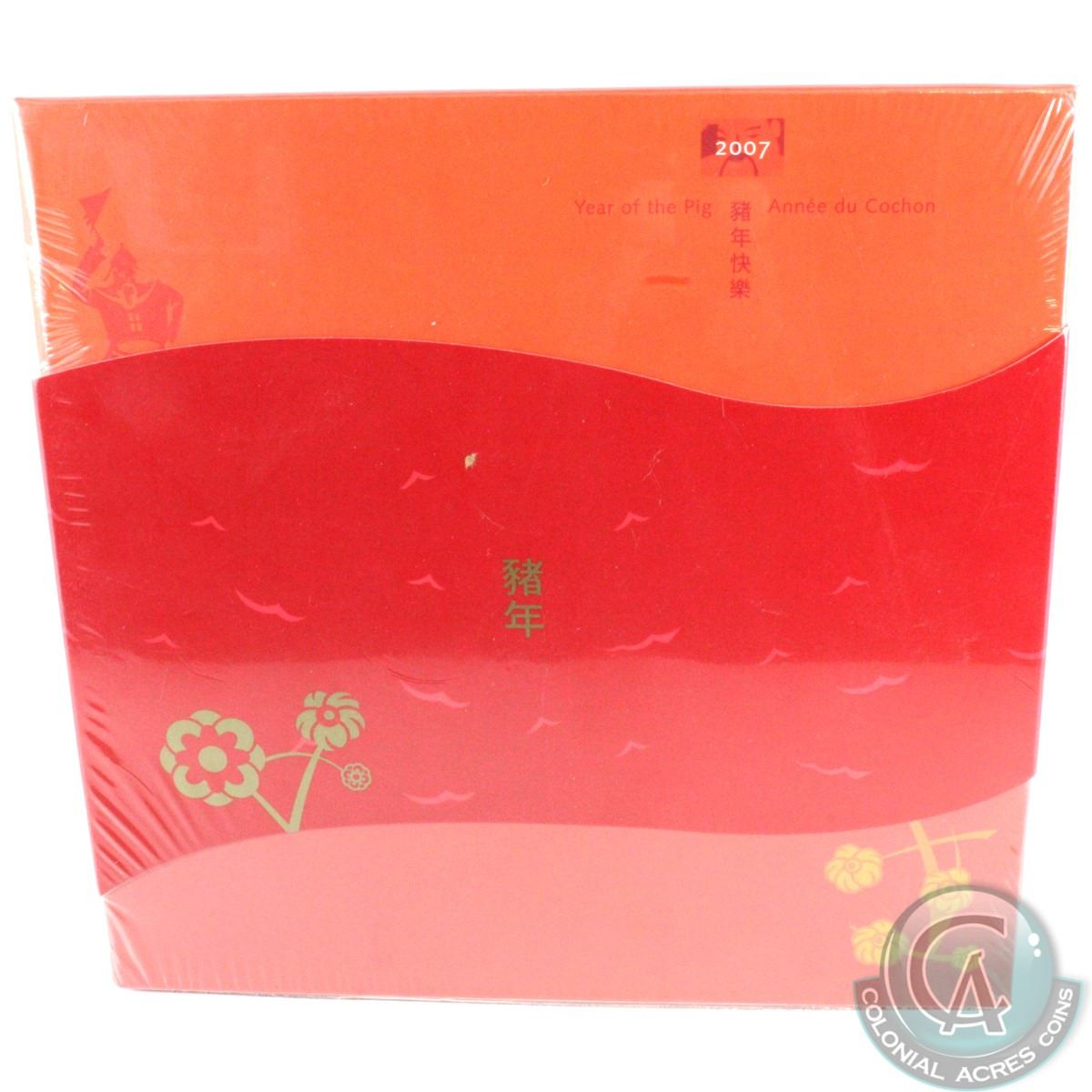 RCM Issue: 2007 Canada $15 Lunar Year of the Pig Fine Silver Coin and Stamp  Set  Comes with all the