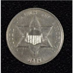 1859 3 CENT SILVER CH BU