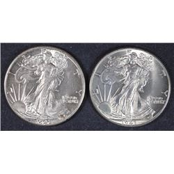 2 - CHOICE BU WAKING LIBERTY HALF DOLLARS 1942 & 1943
