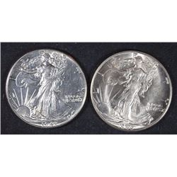 2 - CHOICE BU WALKING LIBERTY HALF DOLLARS 1941 & 1946-D