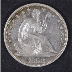 1858-O SEATED HALF DOLLAR AU