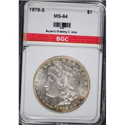 1878-S MORGAN SILVER DOLLAR BGC CHOICE BU