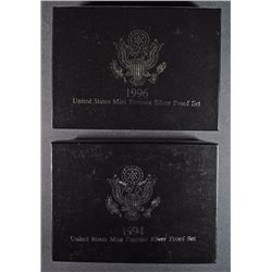 19994 & 1996 PREMIER SILVER PROOF SETS IN NICE ORIG BOXES