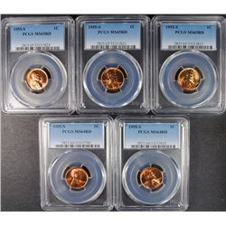 ( 5 ) PCGS GRADED 1955-S LINCOLN CENTS: ( 2 ) MS-64 RED & ( 3 ) MS-65 RED