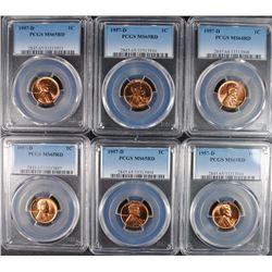 ( 6 ) PCGS GRADED 1957-D LINCOLN CENTS: 1-MS-64 RED & 5-MS-65 RED