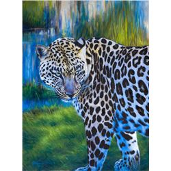 "JAMES CORWIN ART: ""Blended"" - Original Oil on Canvas of an African Leopard at Dusk by James Corwin"