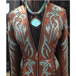 LA ELEVEN 11: Ladies Lambskin Jacket and 5-Strand Turquoise Necklace