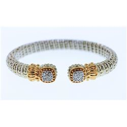 ELIZABETH THE GOLD LADY: Vahan White Sterling Silver and 14K Gold Bracelet with .20 Carats of Diamon