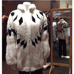 SHEEPSKIN COAT FACTORY: Ladies White & Black Mink Jacket