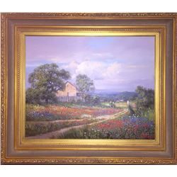 SOUTHWEST GALLERY: Hill Country Landscape - Original Oil on Canvas by Kay Walton