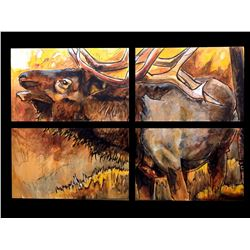 "ED ANDERSON: ""African Son"" - Large Mixed Media Elephant Painting by Wildlife Artist Ed Anderson"
