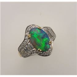 MJ MILLER & CO: ITEM CHANGE: Lady's Platinum and 18K Yellow Gold Black Opal and Diamond Ring