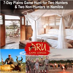 ARU GAME LODGES: 7-Day Plains Game Hunt for Two Hunters and Two Non-Hunters in Namibia - Includes Tr