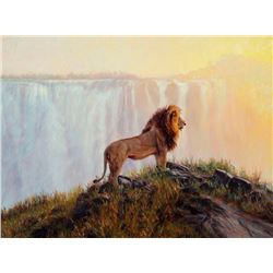 "BANOVICH ART: ""Lion at Victoria Falls"" - Original Painting by John Banovich"