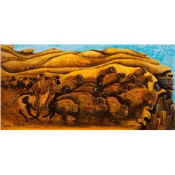 "LAUREL BARBIERI ARTIST: ""Thundering Herd"" - Original Acrylic"