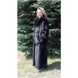 NATURAL FEMALE FULL LENGTH BLACK RANCH MINK COAT