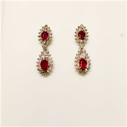 NATURAL RUBY & DIAMOND NECKLACE & EARRINGS ORIGIN OF RUBY - BURMA