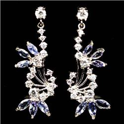 PAIR OF WHITE GOLD OVER STERLING SILVER TANZANITE EARRINGS
