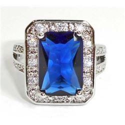 STERLING SILVER SAPPHIRE LADIES RING - SIZE 10