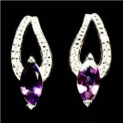 PAIR OF STERLING SILVER PURPLE AMETHYST EARRINGS
