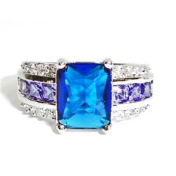 18K WHITE GOLD FILLED LADIES SAPPHIRE RING - SIZE 8
