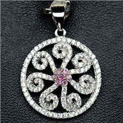 STERLING SILVER PINK SAPPHIRE PENDANT