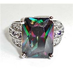 18K WHITE GOLD FILLED LADIES RAINBOW TOPAZ RING - SIZE 9