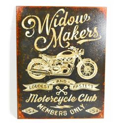 WIDOW MAKER MOTORCYCLE METAL SIGN