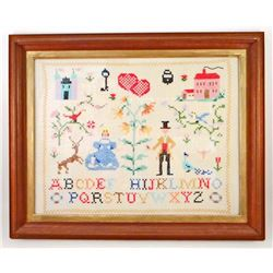 C. 1960S ALPHABET CROSS STITCH SAMPLER - FRAMED