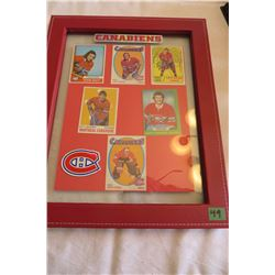 Canadians Wall Picture & Rookie Cards - Guy Lafleur, Steve Shutt, Jacques Lemaire, Guy Lapointe, Lar