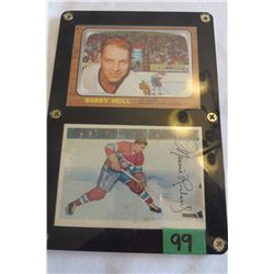 Bobby Hull card #112, Maurice Richard card #24