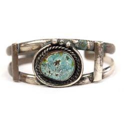 1950 Navajo Silver & Seafoam Turquoise Bracelet