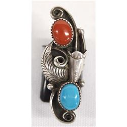 Navajo Sterling Turquoise Coral Ring, Size 3.75