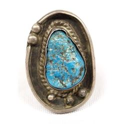 1950 Native American Navajo Silver Turquoise Ring