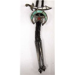 Zuni Channel Inlay Turquoise Shriner's Bolo Tie