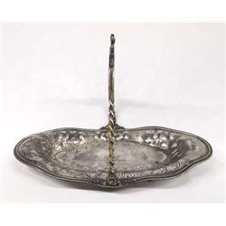 Antique Van Bergh Silver Plate Basket Tray