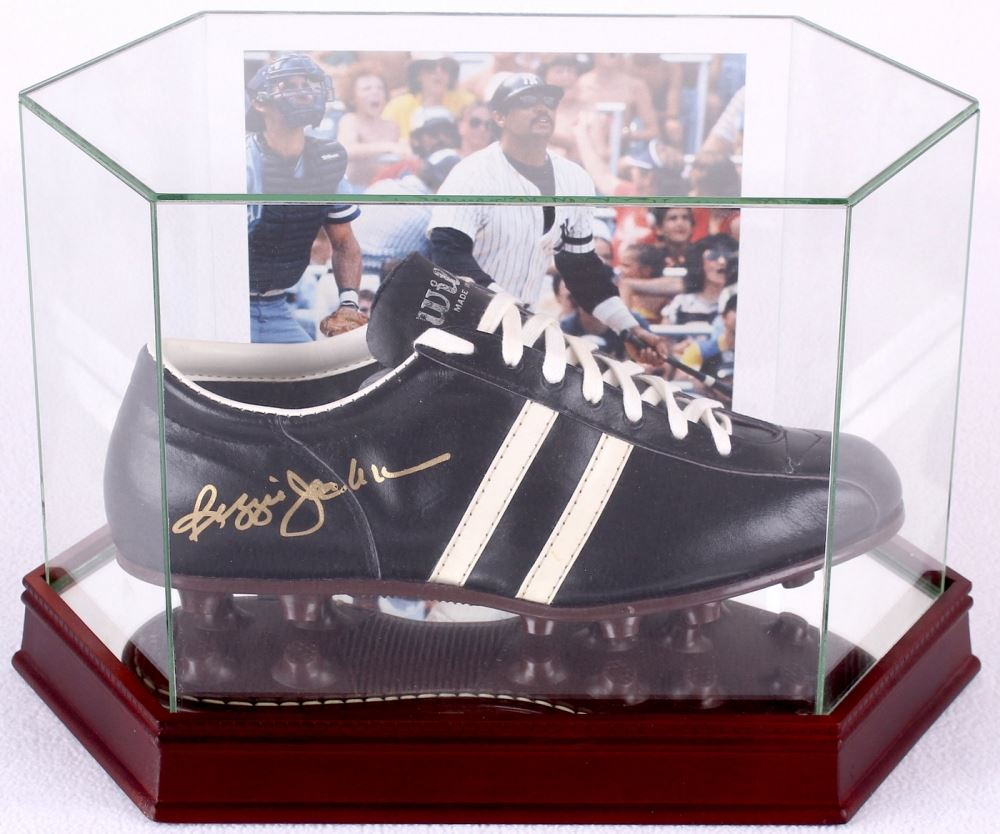 bda30a5b8591 Loading zoom · Image 1   Reggie Jackson Signed Vintage Converse Baseball  Cleat with High Quality Display Case ...