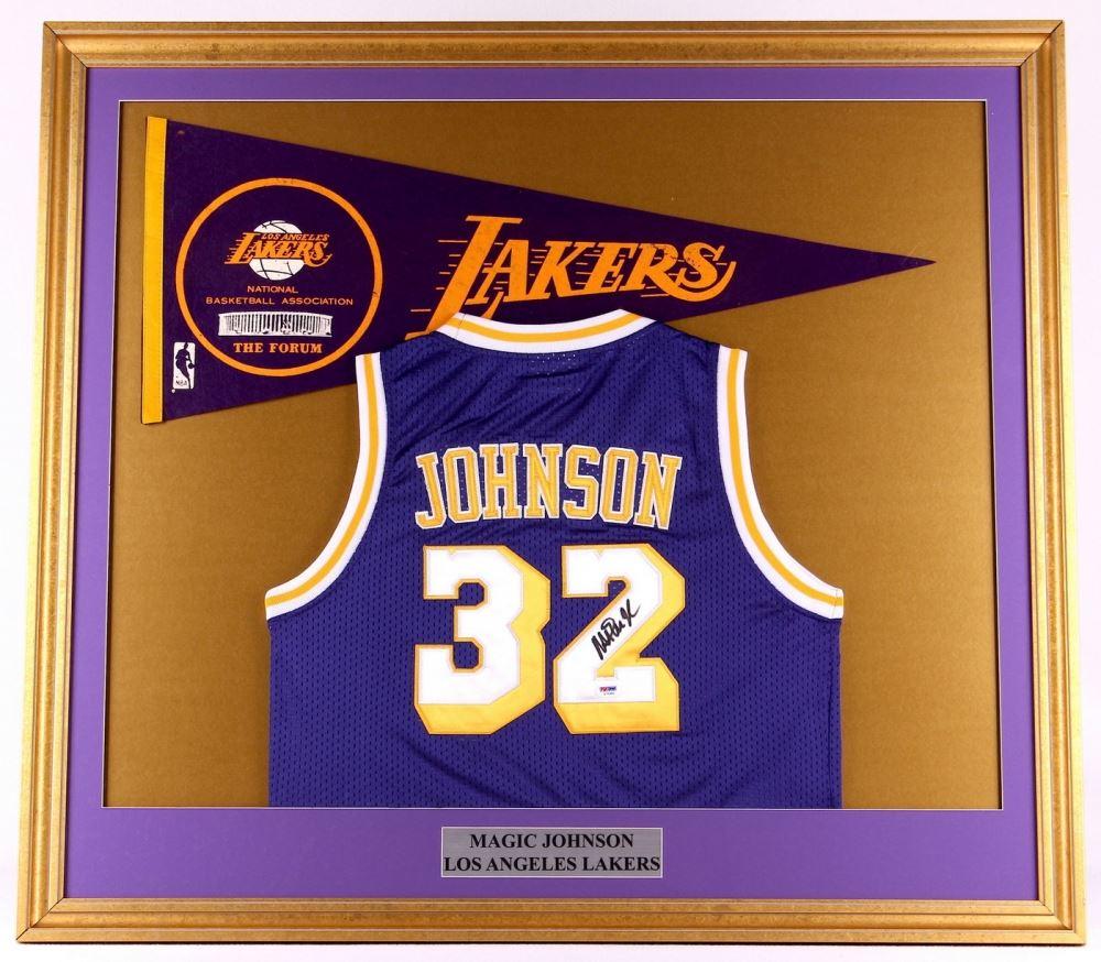 online store b9775 fb338 Magic Johnson Signed Lakers 35x39 Custom Framed Jersey ...