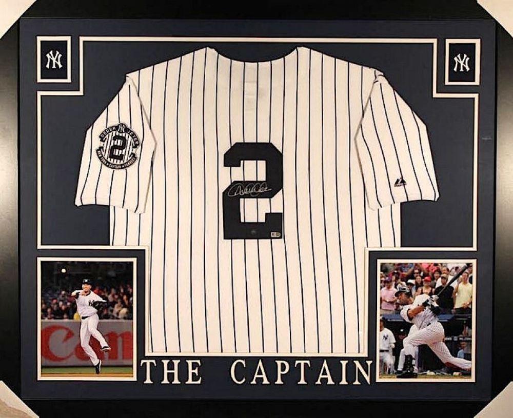 huge discount e22a9 a917e Derek Jeter Signed Yankees 35x43 Custom Framed Jersey ...