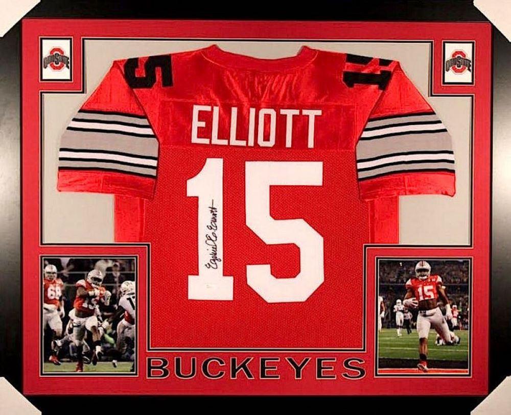 8a9a7b4482e Image 1 : Ezekiel Elliott Signed Ohio State 35x43 Custom Framed Jersey (JSA  COA) ...
