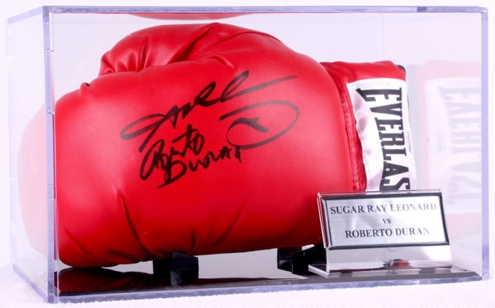 de95fed09f9 Image 1   Sugar Ray Leonard   Roberto Duran Signed Everlast Boxing Glove  with Display Case ...